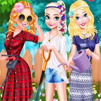Free online flash games - Princesses Gardening In Style EgirlGames game - Games2Dress
