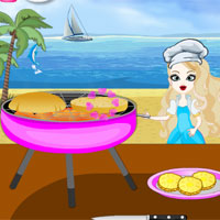 Free online flash games - Anna Cooking Beach Burger game - Games2Dress