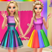 Free online flash games - Sisters Rainbow Fashion game - Games2Dress