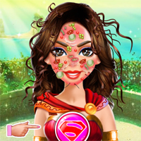 Free online flash games - Kiz10girls Wonder Woman Face Care Girl game - Games2Dress