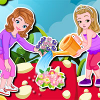 Free online flash games - Sofia and Amber Gardening game - Games2Dress